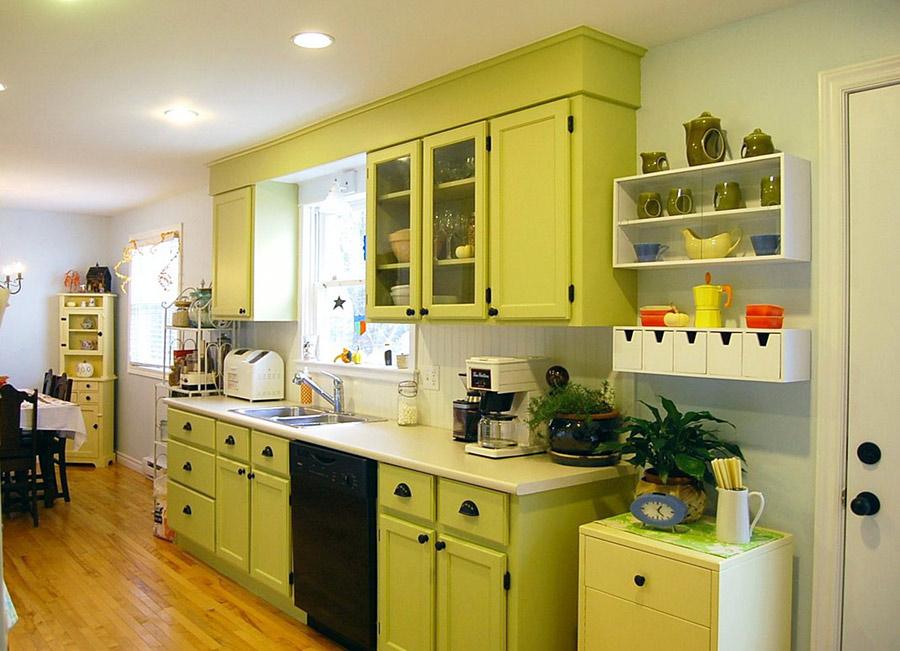 кухня в фисташковом цвете дизайн фото